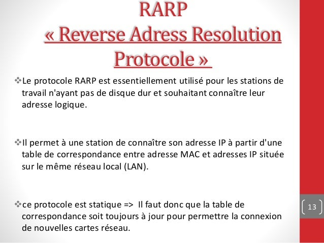 arp rarp Reverse arp rarp often is used by diskless workstations because this type of device has no way to store ip addresses to use when they boot the only address that is known is the mac address because it is burned in to the hardware.