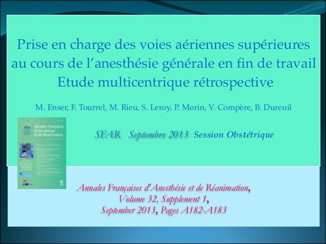 Annales Françaises d'Anesthésie et de Réanimation, Volume 32, Supplement 1,  September 2013, Pages A182-A183 ! Prise en ...