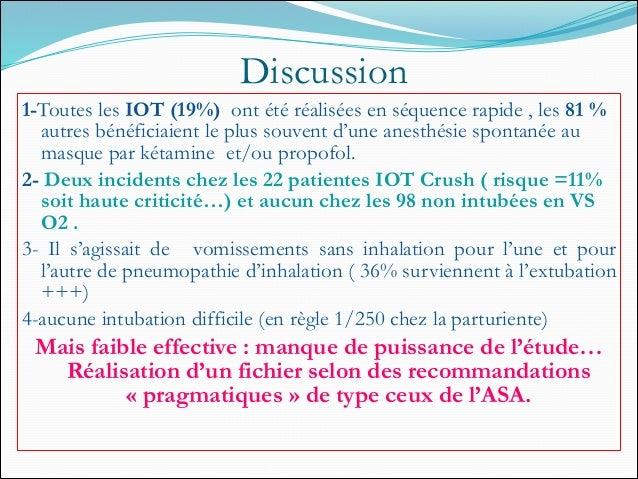 Discussion 1-Toutes les IOT (19%) ont été réalisées en séquence rapide , les 81 % autres bénéficiaient le plus souvent d'u...