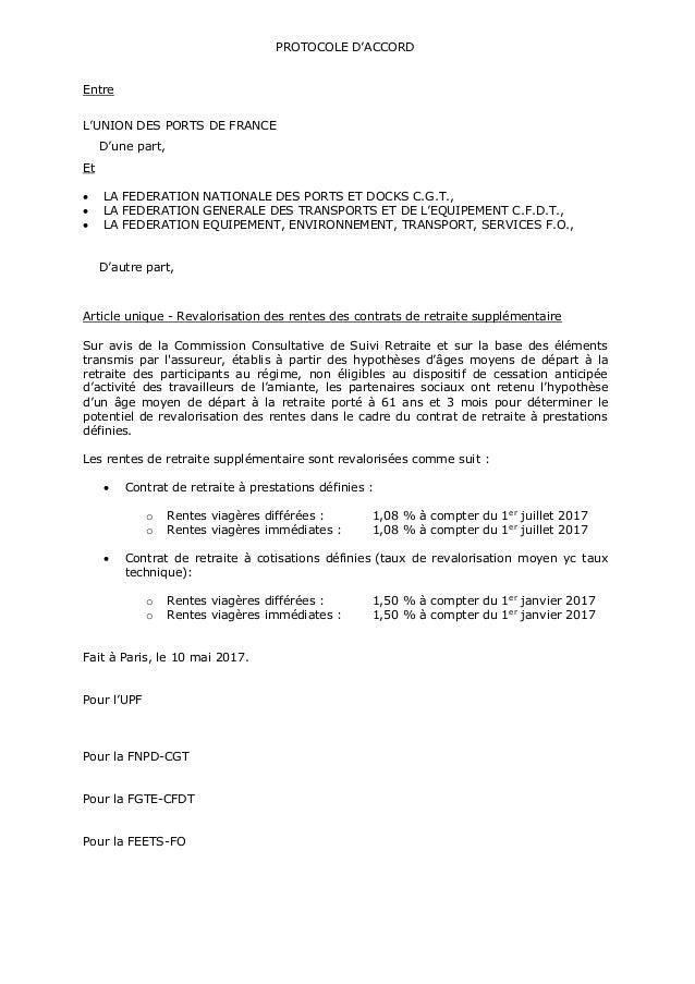 PROTOCOLE D'ACCORD Entre L'UNION DES PORTS DE FRANCE D'une part, Et  LA FEDERATION NATIONALE DES PORTS ET DOCKS C.G.T., ...