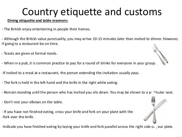 20 Country Etiquette And Customs Dining Table Manners The British