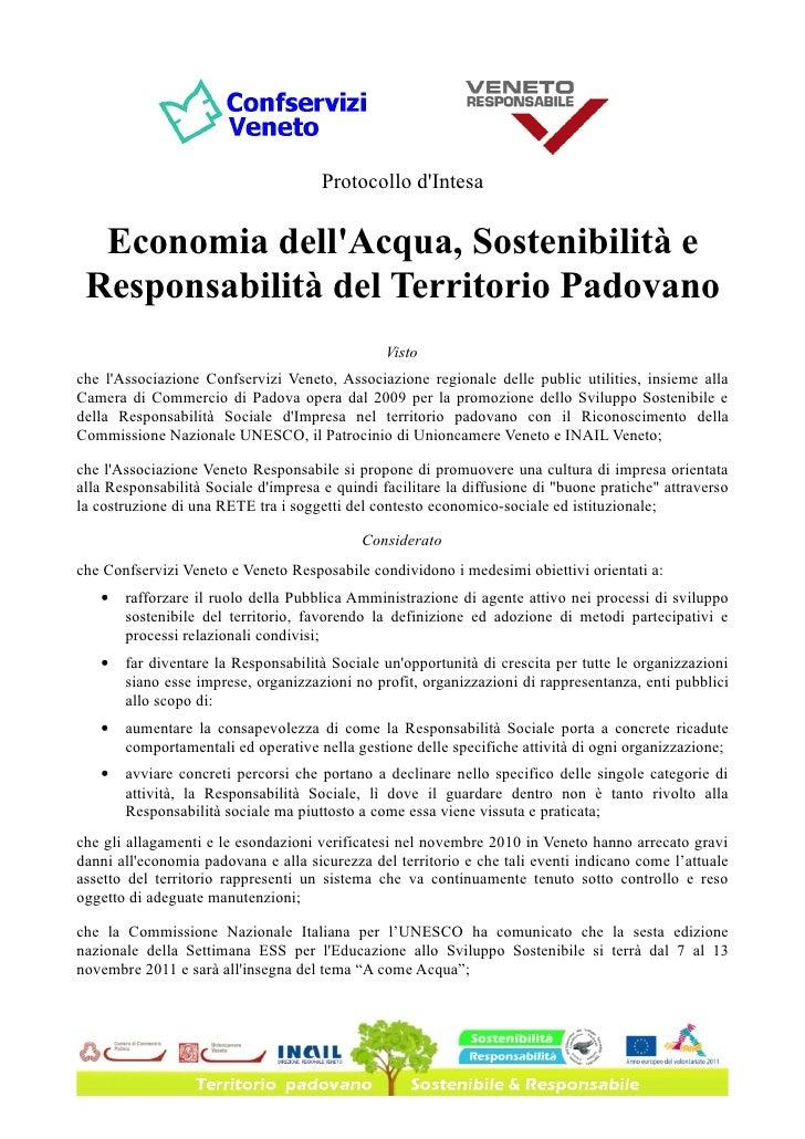 Protocollo dIntesa  Economia dellAcqua, Sostenibilità e Responsabilità del Territorio Padovano                            ...