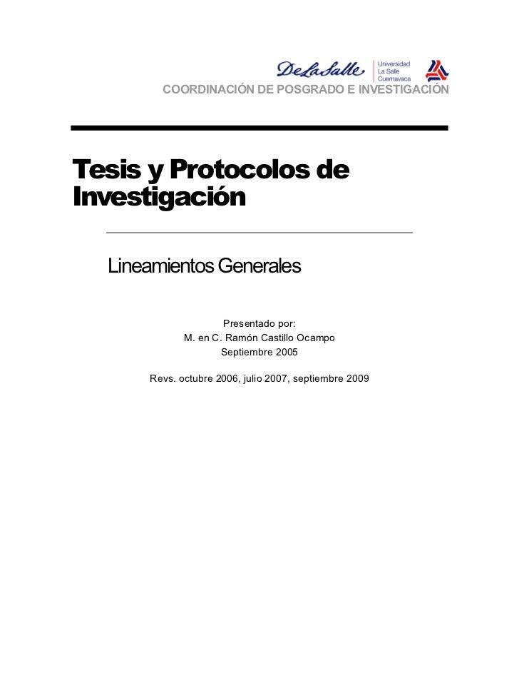 COORDINACIÓN DE POSGRADO E INVESTIGACIÓNTesis y Protocolos deInvestigación  Lineamientos Generales                     Pre...