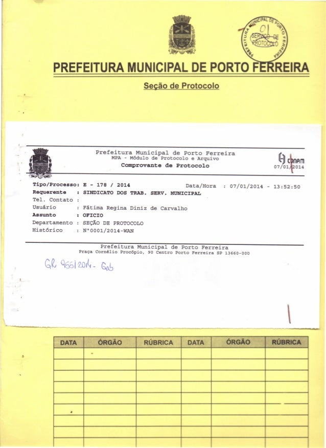 PREFEITURA MUNICIPAL DE PORTO F Seção de Protocolo  Prefeitura ;  Municipal  de Porto  MPA - Módulo de Protocolo  .  Ferre...