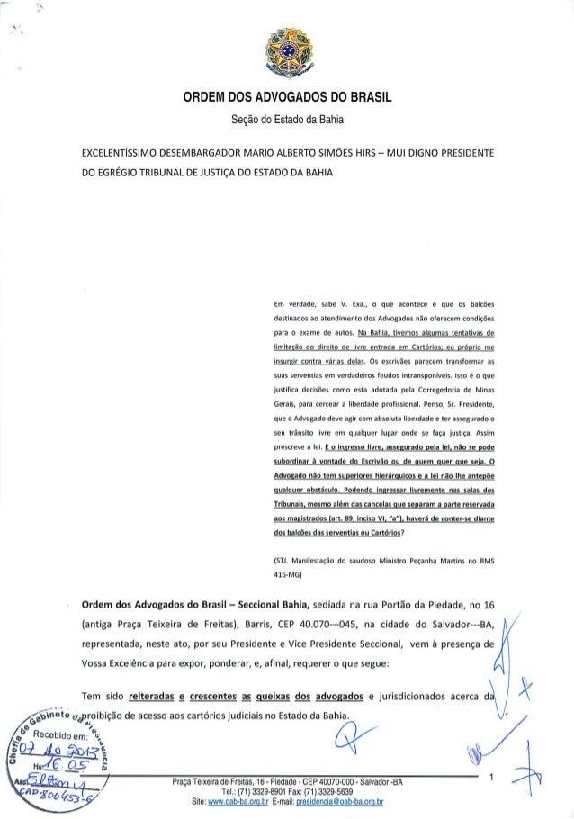 Retirada das cancelas nos cartórios - Protocolo na Presidência do TJ-BA