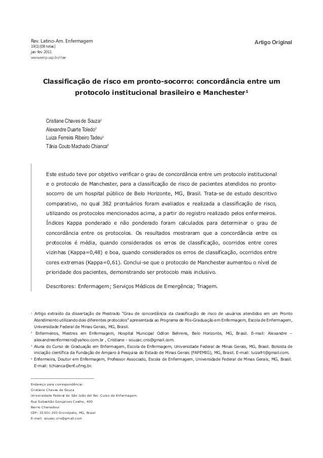 Artigo OriginalRev. Latino-Am. Enfermagem 19(1):[08 telas] jan-fev 2011 www.eerp.usp.br/rlae Endereço para correspondência...