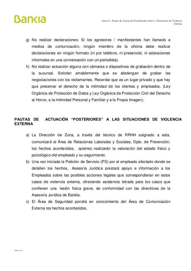 Protocolo de actuaci n ante situaciones de violencia bankia for Telefono oficina bankia