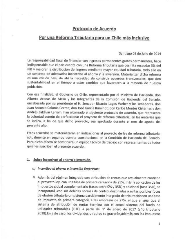 Protocolo de acuerdo de la Reforma Tributaria
