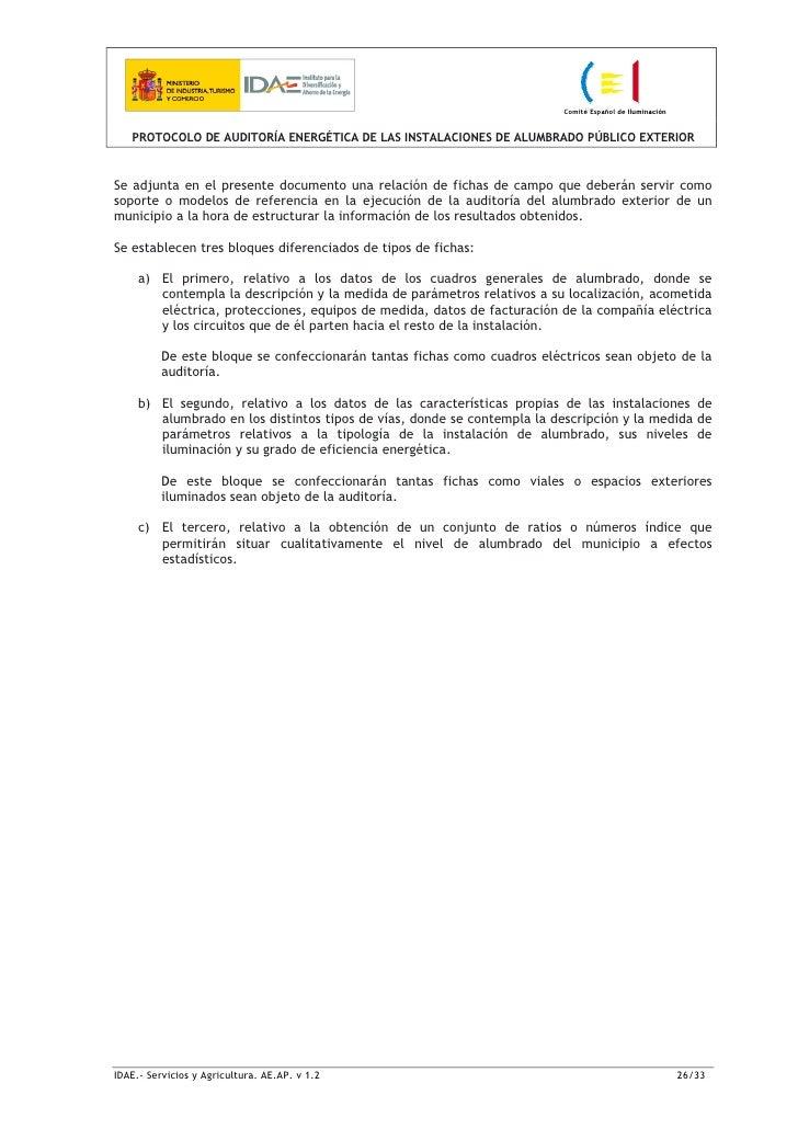 Protocolo auditoria energetica alumbrado publico exterior for Exterior relativo