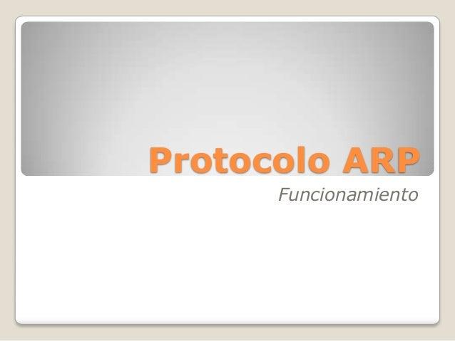Protocolo ARP Funcionamiento