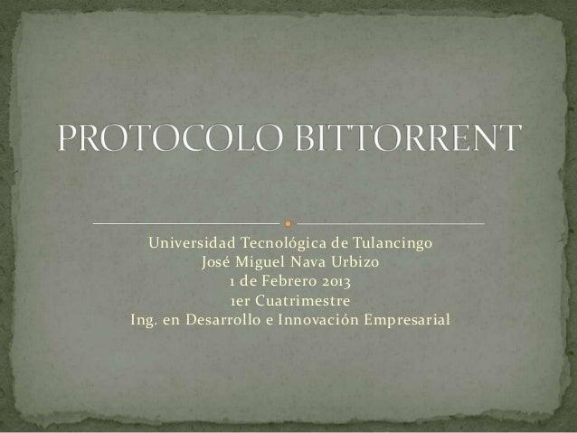 Universidad Tecnológica de Tulancingo          José Miguel Nava Urbizo              1 de Febrero 2013              1er Cua...