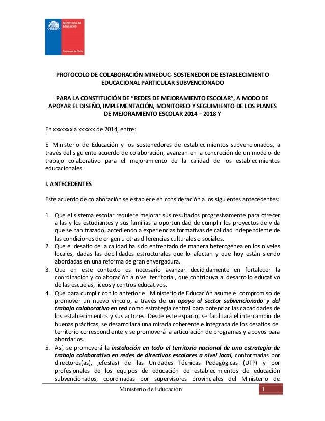 PROTOCOLO DE COLABORACIÓN MINEDUC- SOSTENEDOR DE ESTABLECIMIENTO  EDUCACIONAL PARTICULAR SUBVENCIONADO  PARA LA CONSTITUCI...