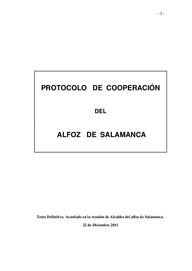 -1-  PROTOCOLO DE COOPERACIÓN                                  DEL            ALFOZ DE SALAMANCATexto Definitivo. Acordado...