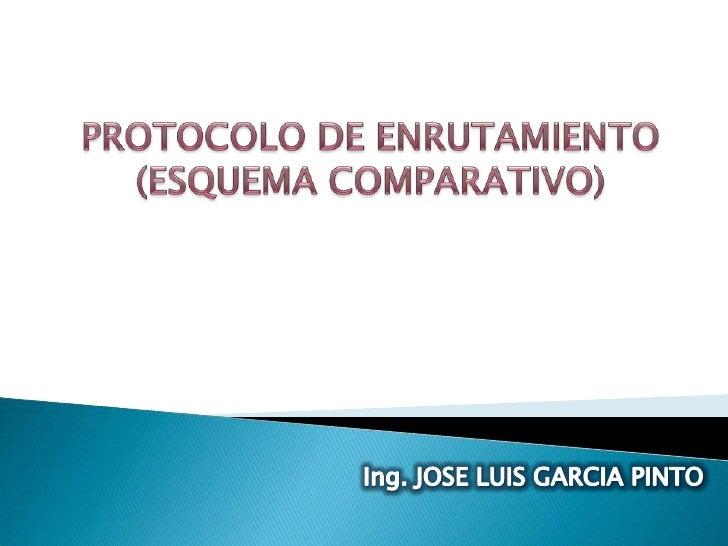 PROTOCOLO DE ENRUTAMIENTO<br />(ESQUEMA COMPARATIVO)<br />Ing. JOSE LUIS GARCIA PINTO<br />