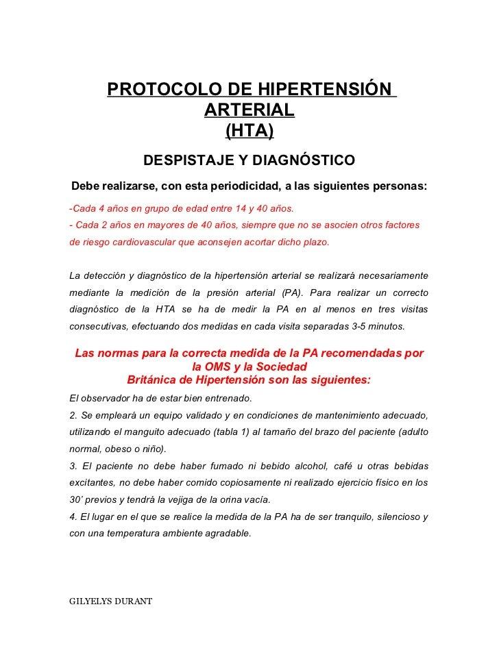 Protocolo de hipertensión arterial