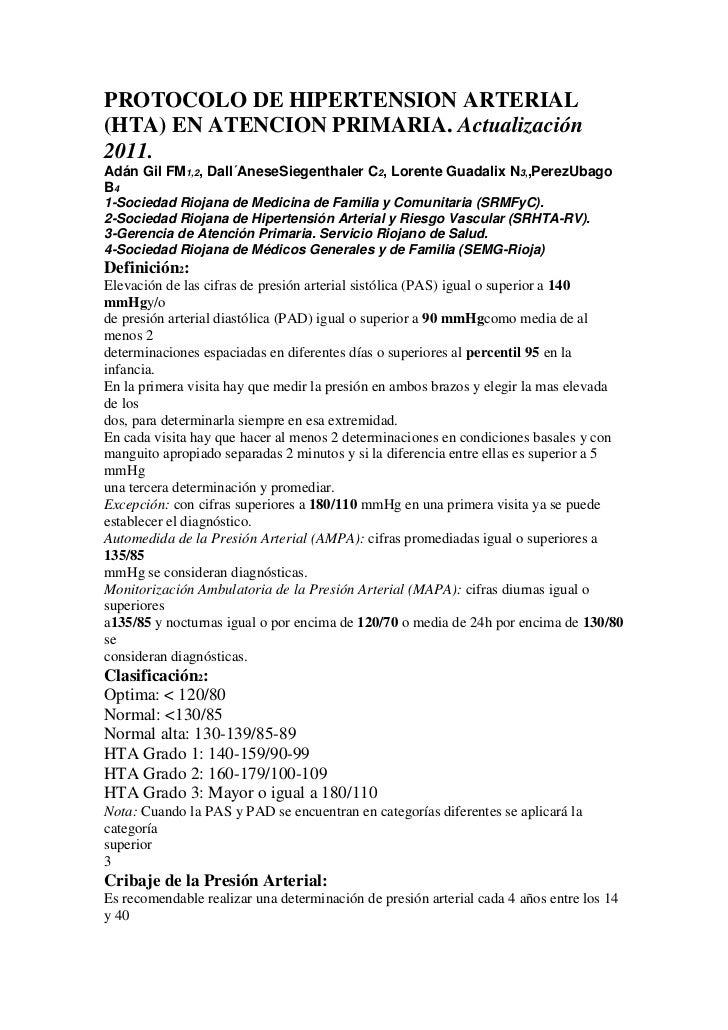 PROTOCOLO DE HIPERTENSION ARTERIAL(HTA) EN ATENCION PRIMARIA. Actualización2011.Adán Gil FM1,2, Dall´AneseSiegenthaler C2,...