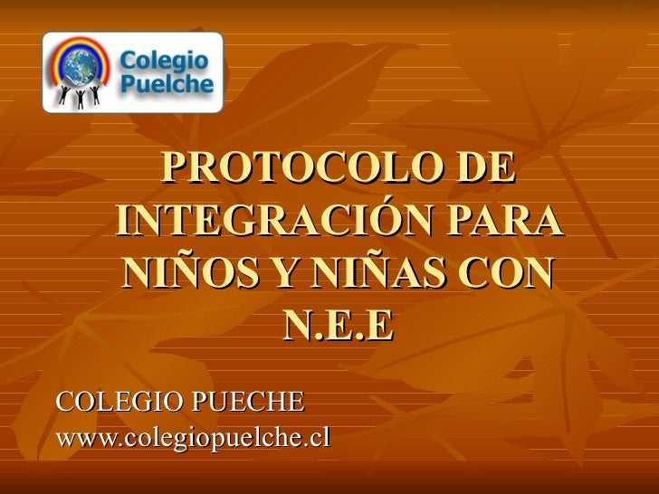 PROTOCOLO DE INTEGRACIÓN PARA NIÑOS Y NIÑAS CON N.E.E COLEGIO PUECHE www.colegiopuelche.cl