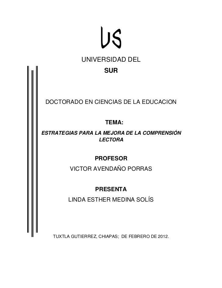 UNIVERSIDAD DEL                       SUR DOCTORADO EN CIENCIAS DE LA EDUCACION                       TEMA:ESTRATEGIAS PAR...