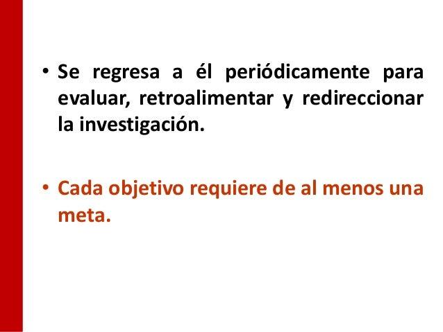 • Se regresa a él periódicamente para  evaluar, retroalimentar y redireccionar  la investigación.• Cada objetivo requiere ...