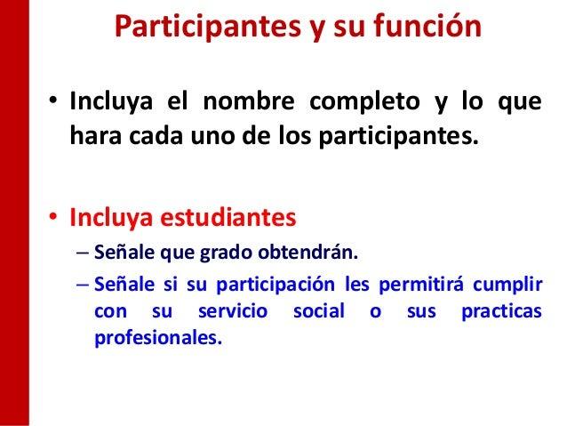 Participantes y su función• Incluya el nombre completo y lo que  hara cada uno de los participantes.• Incluya estudiantes ...