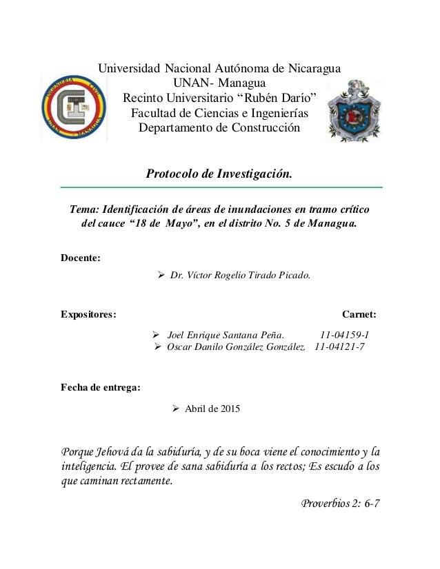"""Universidad Nacional Autónoma de Nicaragua UNAN- Managua Recinto Universitario """"Rubén Darío"""" Facultad de Ciencias e Ingeni..."""