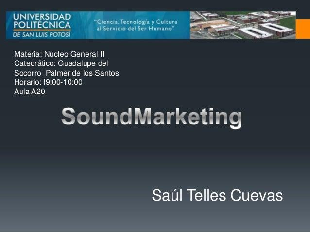 Materia: Núcleo General IICatedrático: Guadalupe delSocorro Palmer de los SantosHorario: l9:00-10:00Aula A20              ...