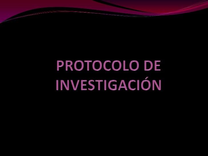 PROTOCOLO DE INVESTIGACIÓN<br />