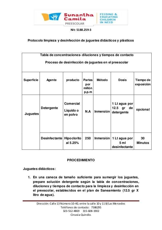 Protocolo de limpieza y desinfeccion de juguetes listo for Programa de limpieza y desinfeccion de una cocina