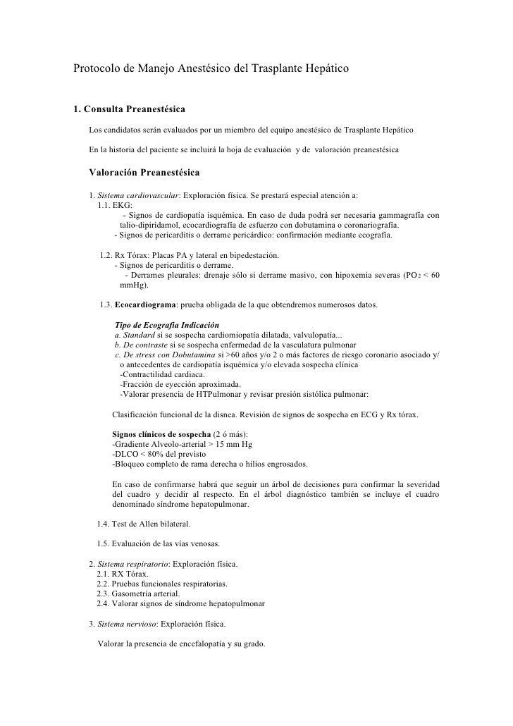 Protocolo de manejo anestésico del trasplante hepático