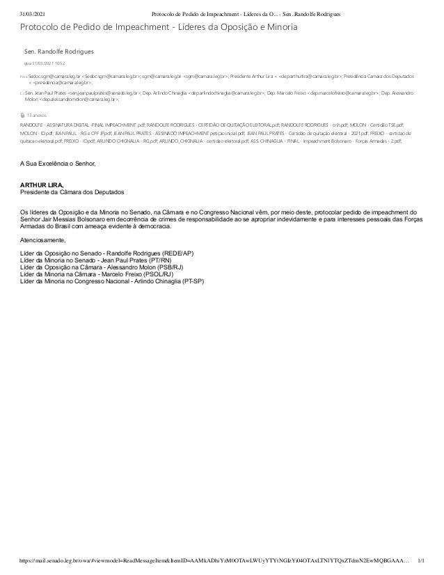 31/03/2021 Protocolo de Pedido de Impeachment - Líderes da O... - Sen. Randolfe Rodrigues https://mail.senado.leg.br/owa/#...