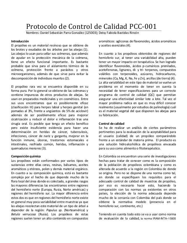 Protocolo de Control de Calidad PCC-001 Nombres: Daniel Sebastián Parra González (125003); Deisy Fabiola Bastidas Rincón I...