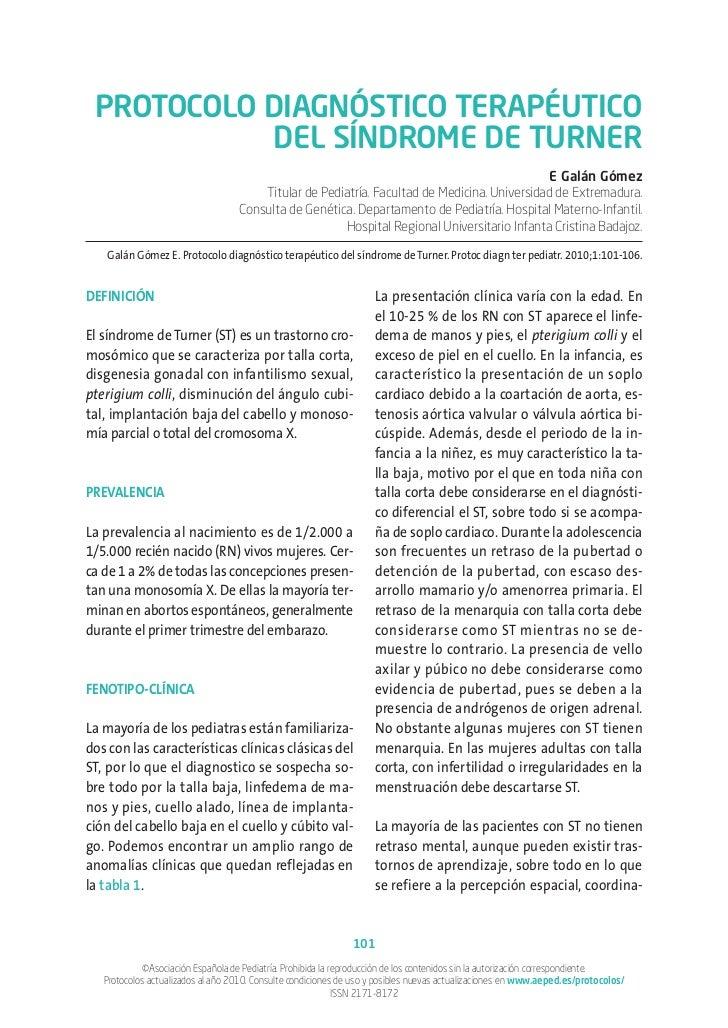 PROTOCOLO DIAGNÓSTICO TERAPÉUTICO           DEL SÍNDROME DE TURNER                                                        ...