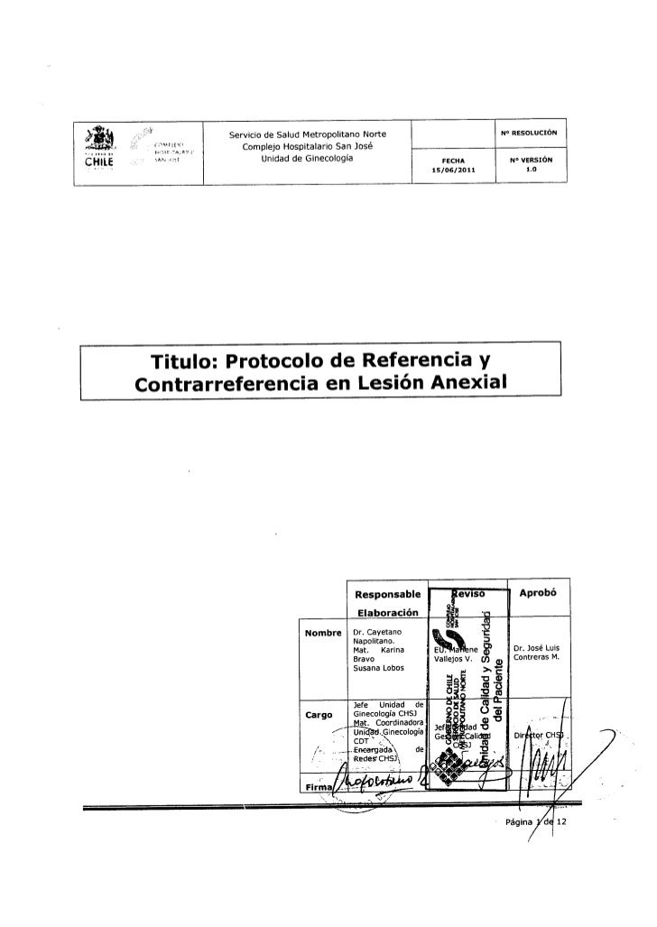 Protocolo en lesión anexial