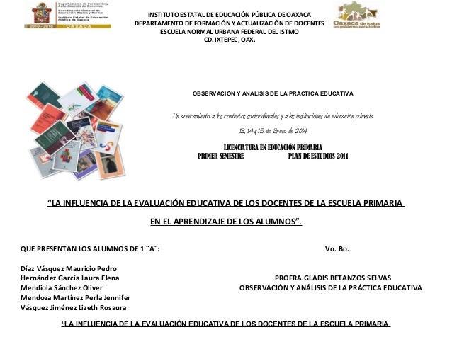 INSTITUTO ESTATAL DE EDUCACIÓN PÚBLICA DE OAXACA DEPARTAMENTO DE FORMACIÓN Y ACTUALIZACIÓN DE DOCENTES ESCUELA NORMAL URBA...