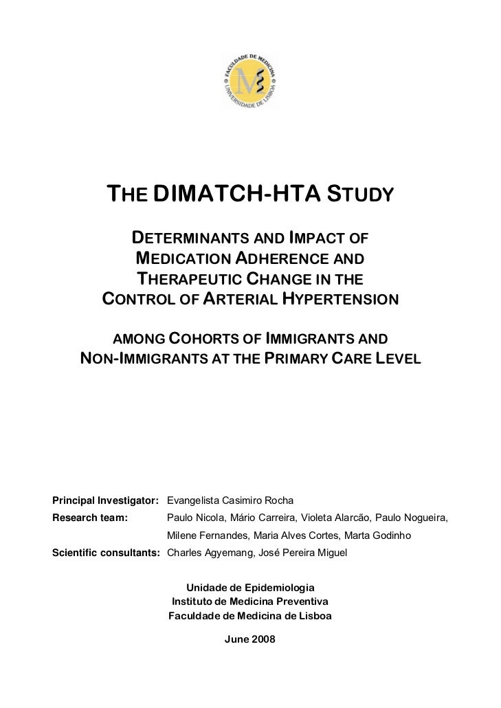THE DIMATCH-HTA STUDY             DETERMINANTS AND IMPACT OF             MEDICATION ADHERENCE AND             THERAPEUTIC ...