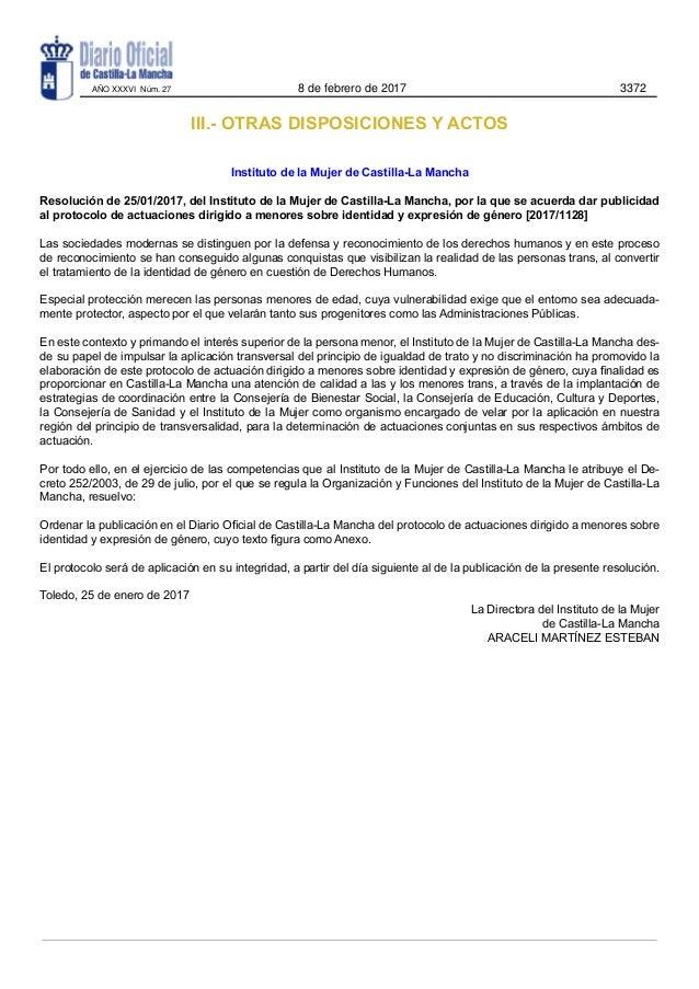 III.- OTRAS DISPOSICIONES Y ACTOS Instituto de la Mujer de Castilla-La Mancha Resolución de 25/01/2017, del Instituto de l...
