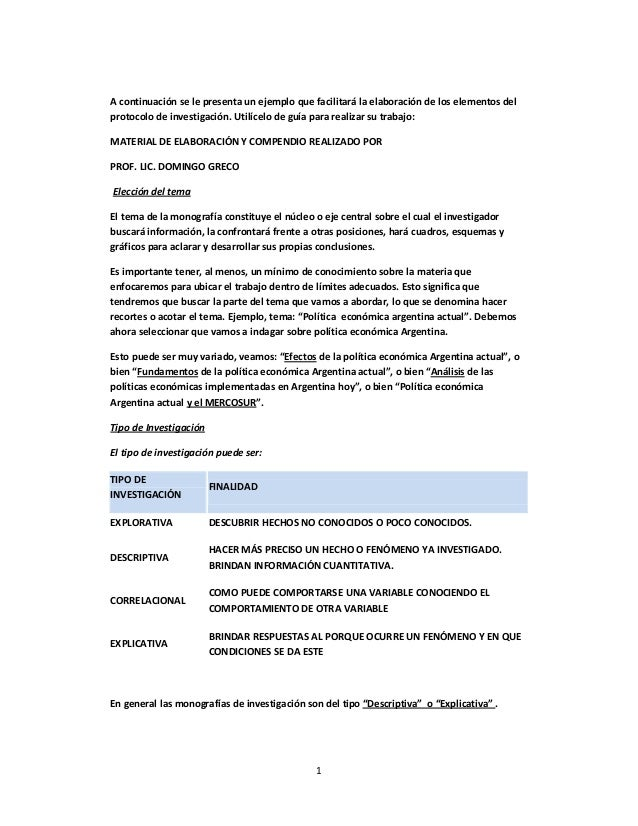 A continuación se le presenta un ejemplo que facilitará la elaboración de los elementos del protocolo de investigación. Ut...