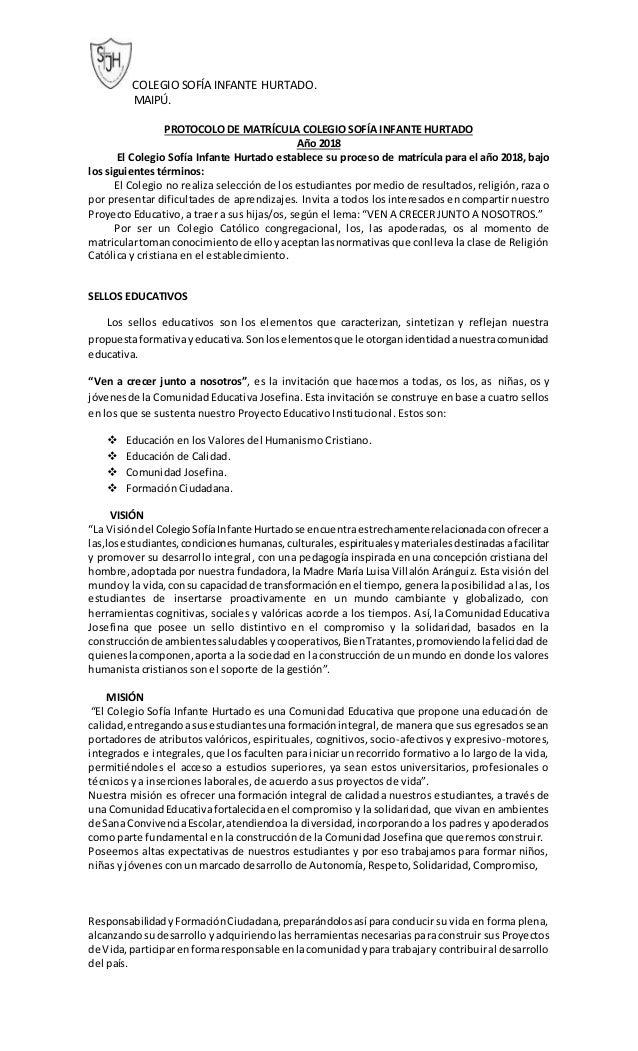 COLEGIO SOFÍA INFANTE HURTADO. MAIPÚ. PROTOCOLO DE MATRÍCULA COLEGIO SOFÍA INFANTE HURTADO Año 2018 El Colegio Sofía Infan...