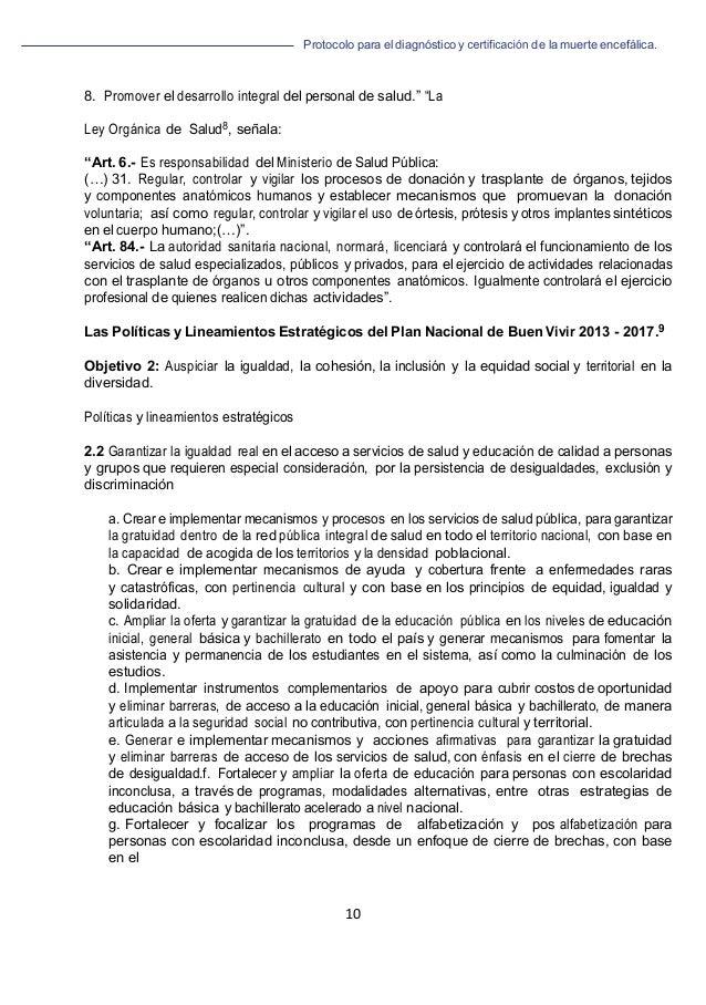 """Protocolo para el diagnóstico y de la muerte encefálica. 10   8. Promover el desarrollo integral del personal de salud.""""..."""
