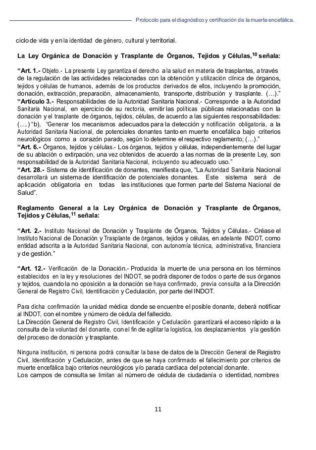 Protocolo para el diagnóstico y de la muerte encefálica. 11                           ciclo de v...