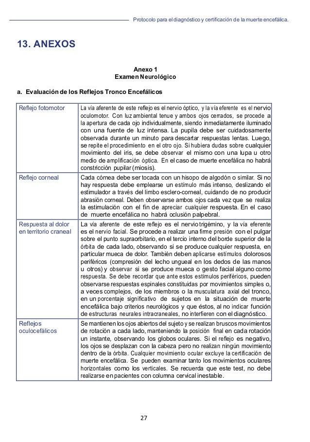 Protocolo para el diagnóstico y de la muerte encefálica. 27   13. ANEXOS Anexo 1 Examen Neurológico a. Evaluación de los...