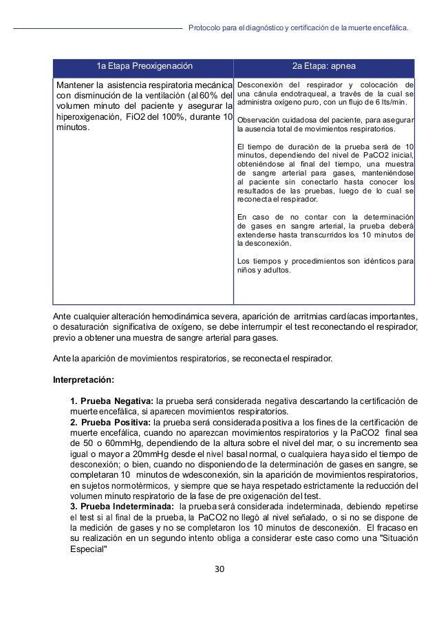 Protocolo para el diagnóstico y de la muerte encefálica. 30   1a Etapa Preoxigenación 2a Etapa: apnea Mantener la asiste...
