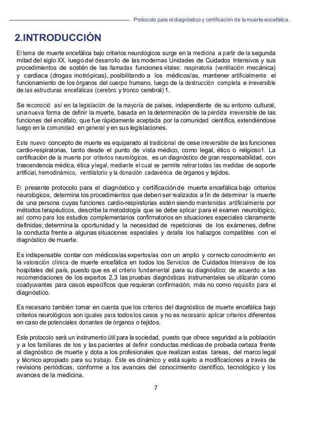 Protocolo para el diagnóstico y de la muerte encefálica. 7                                 ...