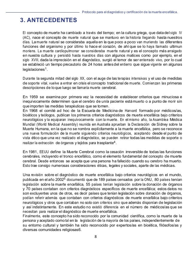 Protocolo para el diagnóstico y de la muerte encefálica. 8                                 ...