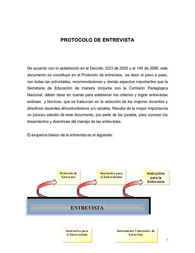 PROTOCOLO DE ENTREVISTA  De acuerdo con lo establecido en el Decreto 3323 de 2005 y el 140 de 2006, este  documento se con...