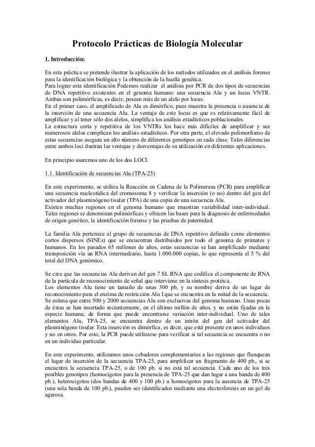 Protocolo Prácticas de Biología Molecular 1. Introducción: En esta práctica se pretende ilustrar la aplicación de los méto...