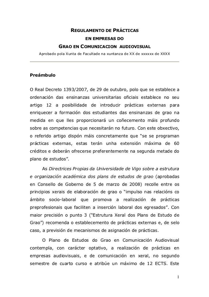 REGULAMENTO DE PRÁCTICAS                            EN EMPRESAS DO              GRAO EN COMUNICACION              AUDIOVIS...