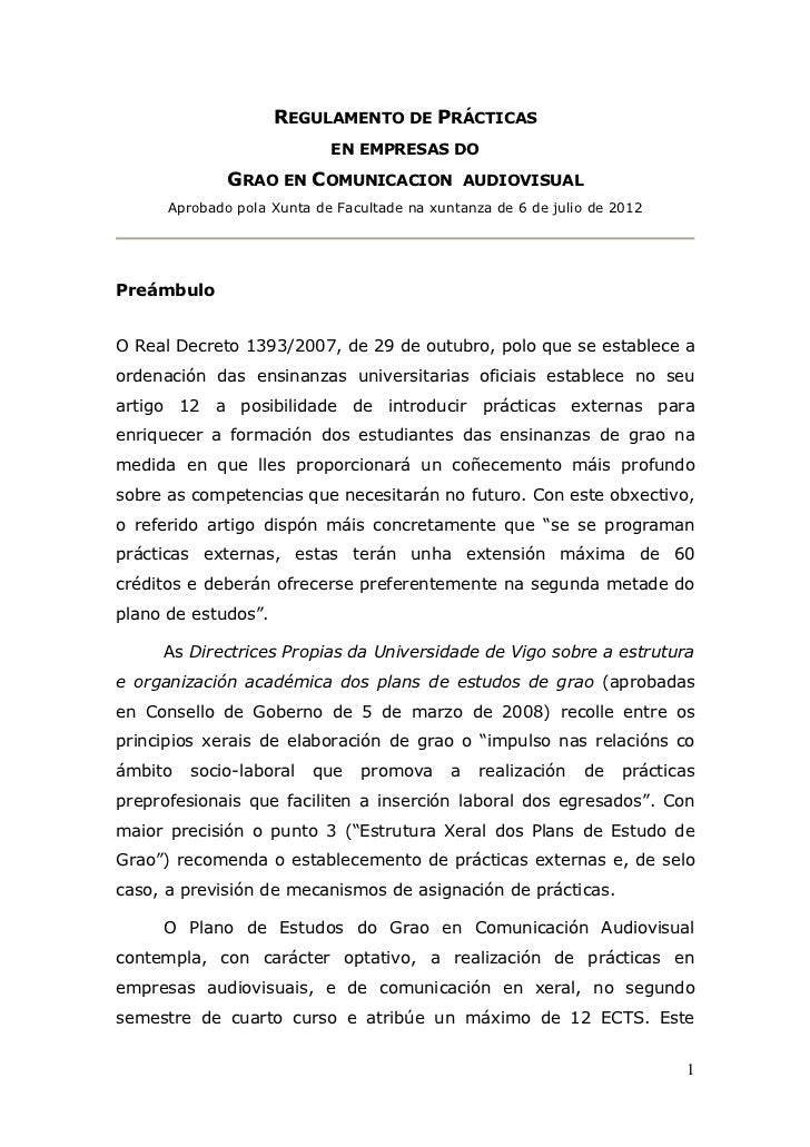 REGULAMENTO DE PRÁCTICAS                            EN EMPRESAS DO              GRAO EN COMUNICACION               AUDIOVI...