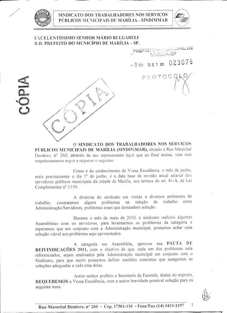 Protocolo reinvidicações 2011