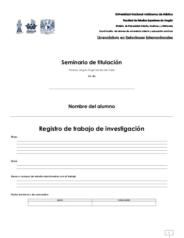 Seminario de titulación Profesor Miguel Ángel Del Rio Del Valle Vo. Bo  Nombre del alumno  Registro de trabajo de investig...